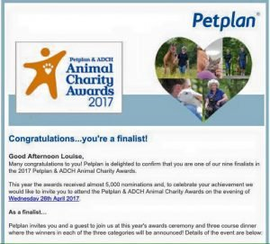 Petplan & ADCH Animal Charity Awards 2017